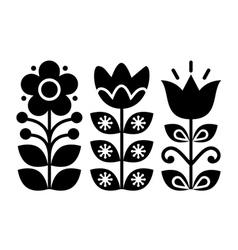 Swedish floral retro pattern - monochrome vector image vector image