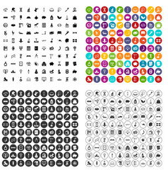 100 balance icons set variant vector