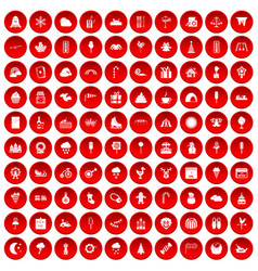 100 childrens parties icons set red vector image