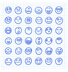 a set emoji icons drawn hand on squared vector image