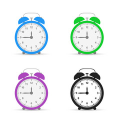 Alarm clock set icons flat design style vector