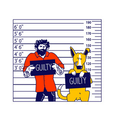 Arrested man with dog characters getting front vector