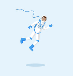 astronaut in spacesuit floating flat vector image