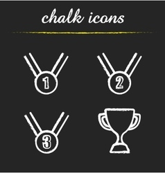 Award chalk icons set vector