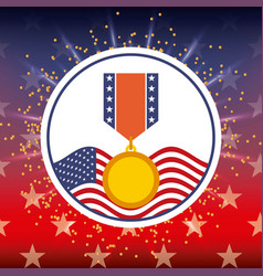 award medal and american flag bright badge vector image