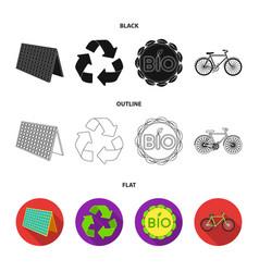 Bio label eco bike solar panel recycling sign vector