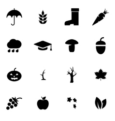 Black autumn icon set vector