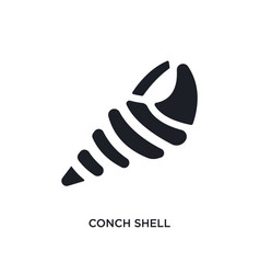 Black conch shell isolated icon simple element vector