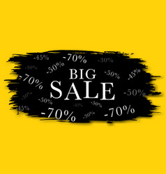 black sale banner on a yellow background vector image