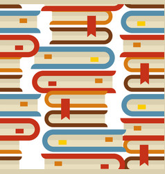 book piles seamless pattern bookmarks and volumes vector image