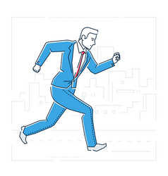 Businessman running - line design style isolated vector