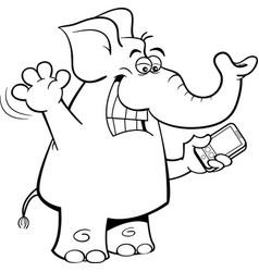 Cartoon elephant holding a cell vector