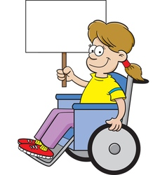 Cartoon girl in a wheel chair holding a sign vector image
