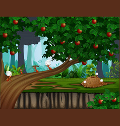 Cartoon of ants colony on the apple tree vector