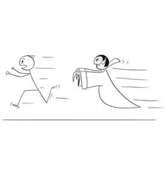 cartoon of scared man running away from vampire vector image