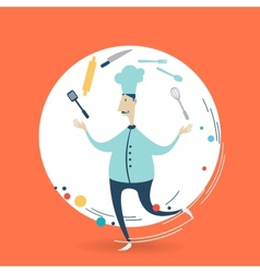 Chefcook juggles utensils vector image