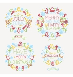 Christmas symbols color vector