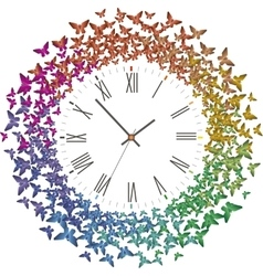 Clock with many multicolored butterflies flying vector