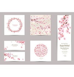 collection of greeting cards with a blossom sakura vector image
