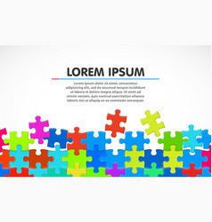 colorful jigsaw puzzle blank simple background vector image