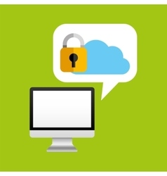 Computer protection cloud icon design vector