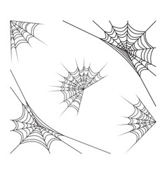corner spiderweb set halloween design isolated on vector image