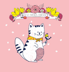 Cute pink postcard with white cat little bird vector