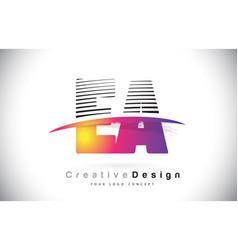 Ea e a letter logo design with creative lines vector
