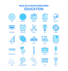 Education blue tone icon pack - 25 icon sets vector