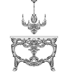 Exquisite baroque console table and chandelier vector