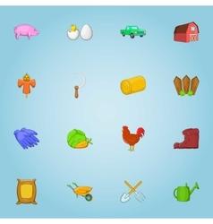 Farming icons set cartoon style vector