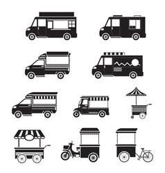 Food vehicles truck van pushcart mono set vector