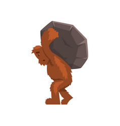 Funny bigfoot carrying heavy stone on his back vector