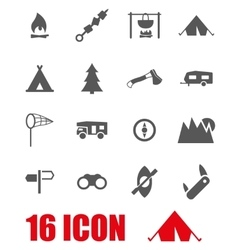 grey camping icon set vector image