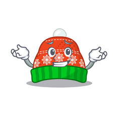 Grinning winter hat in mascot shape vector