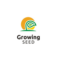 growing seed flower plant garden farm logo vector image
