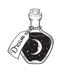 hand drawn dream in bottle with moon and stars vector image