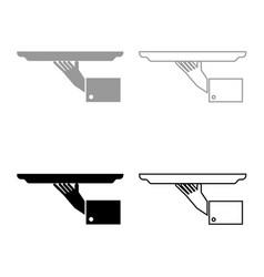 hand with tray icon set grey black color vector image