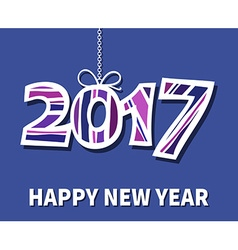 Happy New Year 2017 with drop shadow on blue vector image