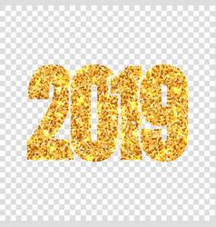 happy new year gold number 2019 golden glitter vector image