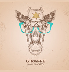 hipster animal giraffe hand drawing muzzle vector image