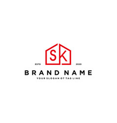 Letter sk home logo design concept vector