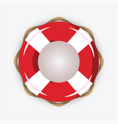 life buoy isolated on white background red and vector image
