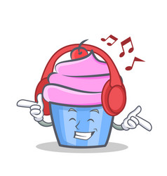 Listening music cupcake character cartoon style vector