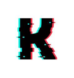 Logo letter k glitch distortion vector