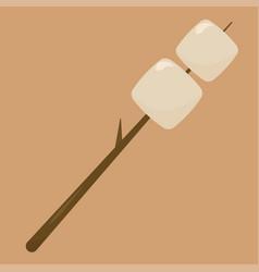 Marshmellow on stick on white background vector