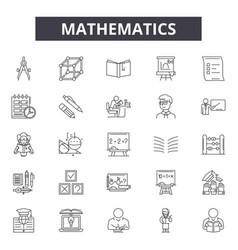 mathematics line icons signs set outline vector image