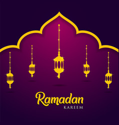 Mosque and lanterns on purple background muslim vector