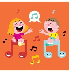 Music kids singing vector