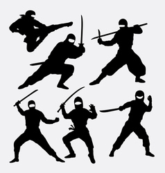 Ninja japanese warrior silhouettes vector